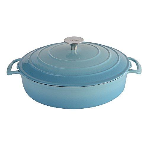 ProCook Cast Iron Casserole 28cm / 3.5L Shallow Graduated Turquoise