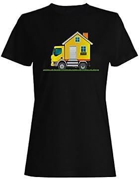 Retro, casa, ruedas, regalo, vendimia camiseta de las mujeres f895f
