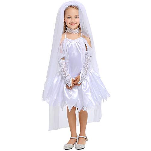Weiß Kostüm Tüll Ghost - Mädchen Partykleid Mädchen Prinzessin Kleid Kinder Halloween Pure White Ghost Bride Kostüm, Hals Kleid, Langen weißen Schleier (Farbe : Photo Color, größe : L)