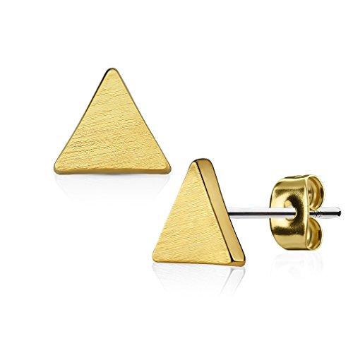 KULTPIERCING - Ohrringe Dreieck Brushed Finish 1 Paar Ohrstecker 316 L Chirurgenstahl/Edelstahl Damen Schmuck Ohr-Schmuck Studs - Gold