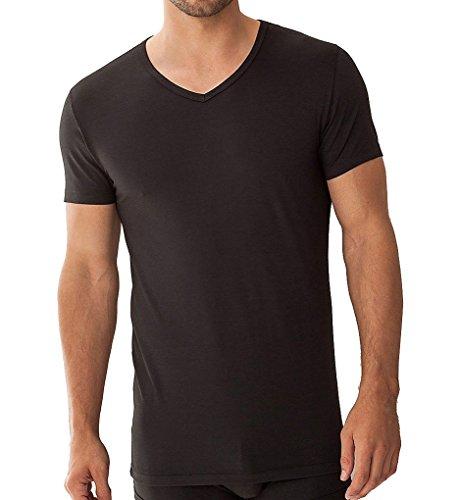 Zimmerli Piqué Como V-Ausschnitt T-Shirt 1861422 Herren Underwear Black