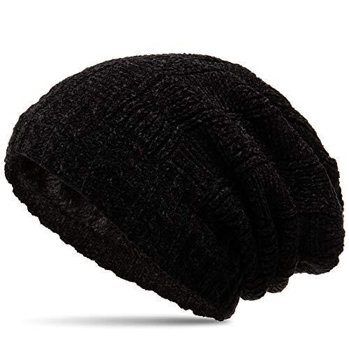 Caspar MU213 Unisex Chenille Beanie Mütze, Farbe:schwarz, Größe:Einheitsgröße -