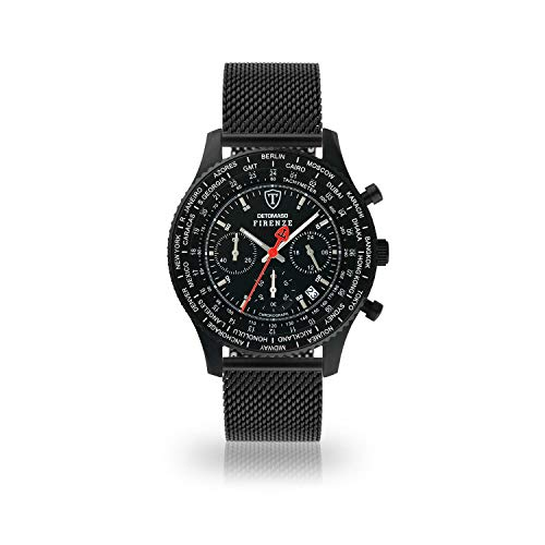 DETOMASO Firenze Herren-Armbanduhr Chronograph Analog Quarz schwarzes Milanaisearmband schwarzes Zifferblatt SL1624C-BK1-685