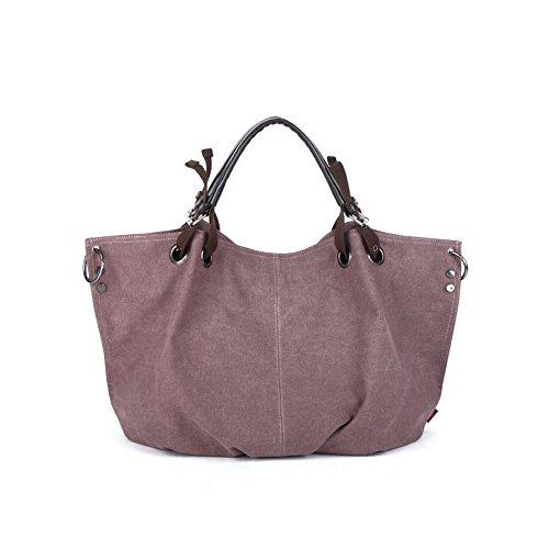 Yvonnelee Große Canvas Tasche Handtasche Henkeltasche für Damen und Frauen Einfarbig - Beige Lila