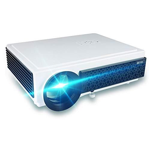 1080P-Projektor, 5000 Lux nativer HD-Projektor, 300-Zoll-Display, 4K-Heimkino-Projektor, eingebauter 5W-Lautsprecher, Heim- und Business-Projektor, Smartphone, PC, Box, PS4 YZPTYY ( Color : White )