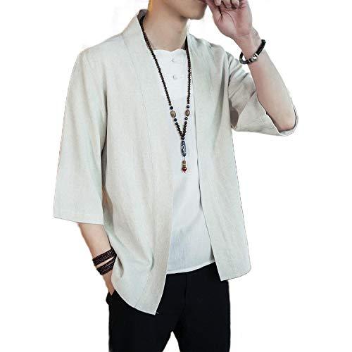 CuteRose Mens Big Tall Loose Elbow Sleeve Open-Front Linen Blend Cardigan Beige 2XL -