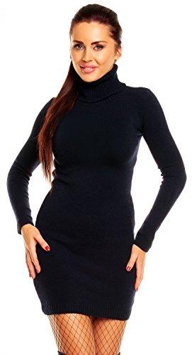 Zeta Ville - Damen Strick-kleid mit Rollkragen - Minikleid mit Stehkragen - 888z (Marine, 36/40)