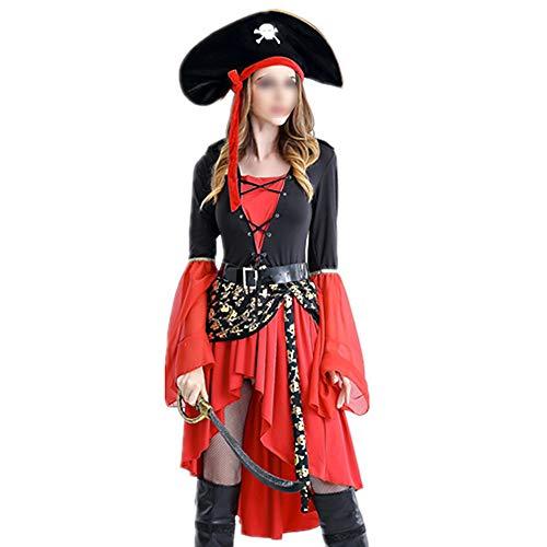 Urlaub Kostüm Für Erwachsene - HUOFEIKE Halloween Piraten Kostüm Cosplay, Damen Erwachsene Urlaub Kleider, Split Typ Thema Party Kleid, Rollenspiele Bühne Dress Up Kleid Maskerade,S
