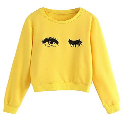 Cuteelf Kinder Langarm Augen Kurz Pullover Tops Teen Mädchen Große Jungen Mädchen Augen und Wimpern Drucken Niedliches Sweatshirt Pullover Niedliche gemütliche Tops