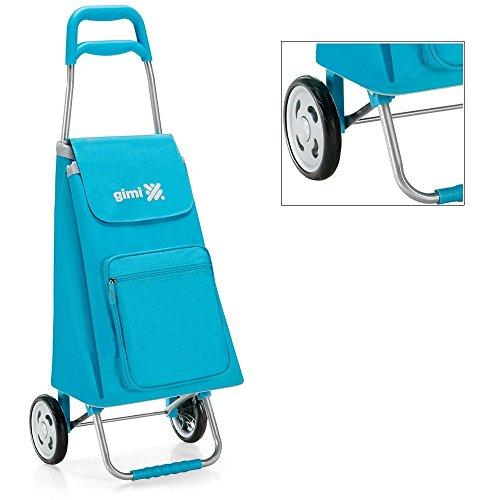 Einkaufsroller blau mit Struktur in Stahl und Tasche aus Polyester der Gimi Typ Argo