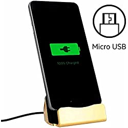 World Smartphones Station d'accueil Micro USB pour HTC 7 Mozart Or