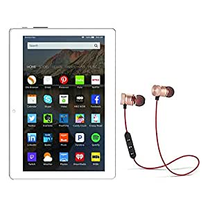 IKALL N10 10.1 inch Display Tablet with 4G Calling and Stereo Magnetic Bluetooth Headset (Dual Sim, White-Gold, 1GB + 16GB)