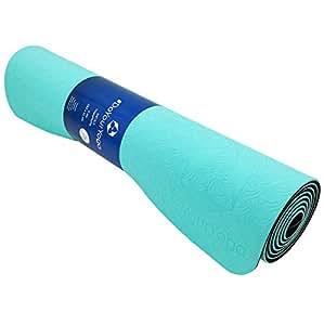 Tappetino da yoga »Shitala« / Materassino ecologico e ipoallergenico in gomma TPE, morbido e antiscivolo, ideale per tutti i maestri di yoga e gli appassionati / Dimensioni: 183 x 61 x 0,5cm / turquesa