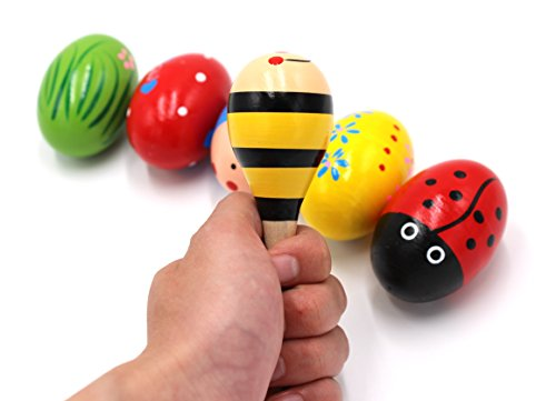 Set of 6 - 5PCS Colorful Adorable Wooden Egg Maracas Music Percussion Baby Kids Children Toy Egg Shakers(Assorted color) & 1 PCS Mini Wooden Ball Musical Instruments Maracas(Random color)