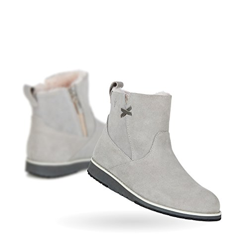 EMU Australia Damen Leder Boots Merino Lammfell Echt Leder Schuhe Stiefel Seitlicher Zipper Grau, Schuhgröße:39 (Stiefel Emu Lammfell)