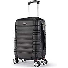 SHAIK SerieCLASSIC JFK Design Hartschalen Trolley, Koffer, Reisekoffer 4 Doppelrollen Zwillingsrollen, Zahlenschloss (Handgepäck, Schwarz)