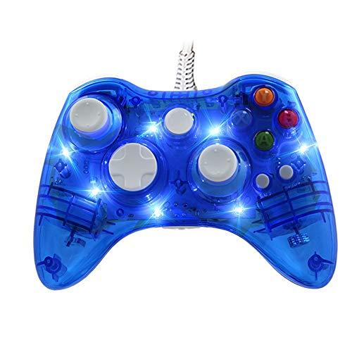 Controller mit Gamepad-Kabel, dual vibrierende USB-LED-Anzeige Joypad Joypad Gamepad 2,2 m Länge für XBO X360, Schwarz, 2019 Neu,Blue