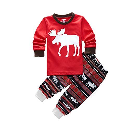 Kinder Baby Jungen Mädchen, Stillshine - Weihnachten Kinder Weihnachten Pyjamas Set Weihnachtsmann Homewear Langarm Cartoon Baumwolle Nachtwäsche (4Y-100CM, Stil 1)