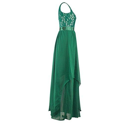 ESHOO Femmes Robe de soirée Sans manche En Mousseline de soie Robe Demoiselle d'honneur Vert