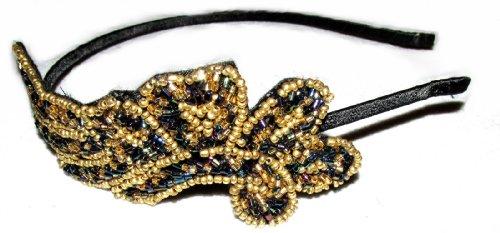 Starcrossed Beauty g84 Bandeau vintage et burlesque en perles Motif feuille et plume Style Gatsby années 20/30 Doré