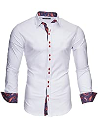 KAYHAN Homme Chemise Slim Fit Repassage facile, Manches Longues Modell - Royal Paisley