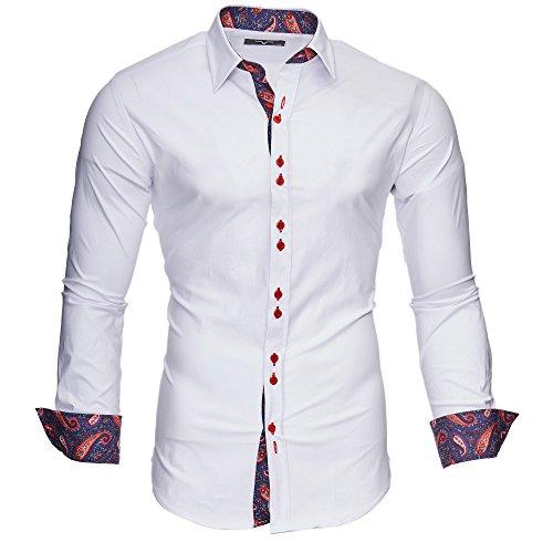 Kayhan Hombre Camisa Royal Paisley White/Bordeaux (L)