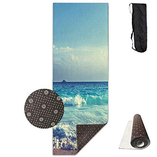 FGRYGF Premium Print Yoga Mat, Ocean Waves Seychelles Island Beach in Sunset Model, Fitness with Carrying Strap & Bag Seychelles Natural