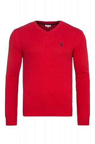 U.S. POLO ASSN. Uomo scollo a V maglione rosso 173 42964 51894 155, Size:M