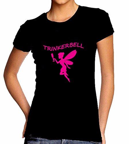 TRINKERBELL | Disney | Drinkerbell | Fee |Sprücheshirt | Funshirt | Mädchen, Damen, Ladys, Girly Shirt| Funshirt | Sprücheshirt | Pink,Orange,Türkis | XS-XXL (XL, Pink)