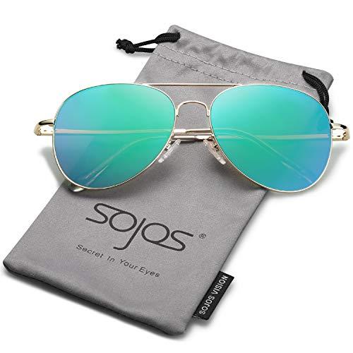 SOJOS Mode Flieger Metallrahmen Verspiegelt Linse Unisex Piloten Sonnenbrille mit Frühlings Scharnieren SJ1030 (C9 Gold Rahmen/Grün Linse)