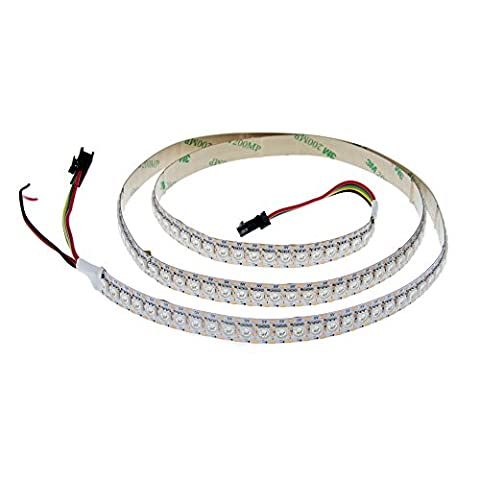 ALITOVE 3.3ft 144 Pixels WS2813 (Upgraded WS2812B) Signal break-point continuous transmission Individually Addressable 5050 SMD RGB LED Flexible Strip Light Non Waterproof White PCB 5V DC