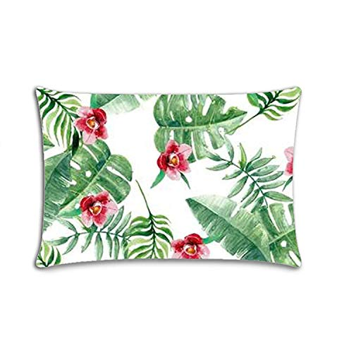 Custom|Palm Leaf and Flower Zippered Cushion Cases Throw Pillow Cover 20x30 Twin Sides Palm Side Case