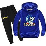 SUPFANS Chándal de Sonic The Hedgehog con capucha y pantalones deportivos delgados para niños