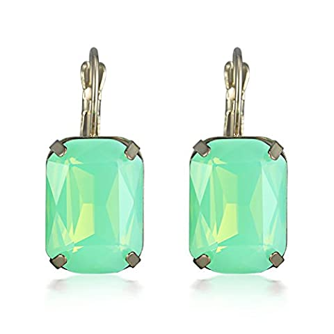 Simple Leverback Drop Dangle Clip-on Earrings with Green Crystal for Ladies Valentine's Day Gifts Jewellery