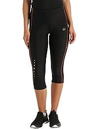 Ultrasport pantalon de course femme, longueur 3/4 avec effet de compression et fonction Quick Dry