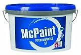 McPaint Wandfarbe Premiumweiß für den Innenbereich, matt 5 Liter, weiß