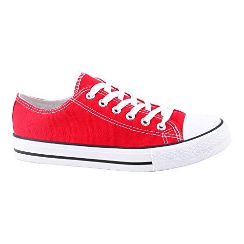 Herren Damen Sneaker Sportschuhe Lauf Canvas Freizeit Fitness Low Unisex Schuhe Rot/Damen-2