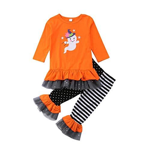 LIKEZZ Nette Baby Mädchen Infant Party Kinder Baby Mädchen Halloween Kleidung Rüschen T-Shirt Hosen Outfits Kostüm, GELB, 12 Mt (Kostüm Gelben T Shirt)