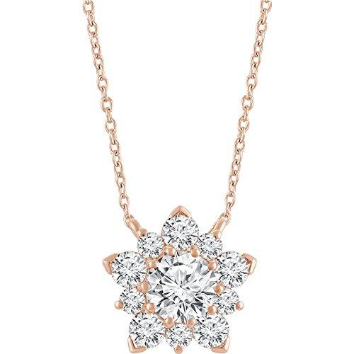 Halskette 1/2 Karat Diamant Halbbesatz Cluster 40,6-45,7 cm