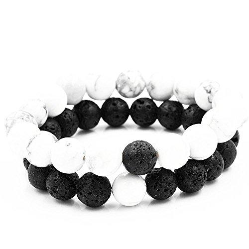 Belons Damen Herren Stretcharmbänder 8mm/10mm Weiß & Schwarz Beads Perlen Lava-Stein Energiearmband Partnerarmbänder Set, 2 Stücke (Schwarz-Weiß(8mm))
