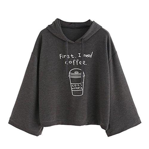 Femmes Sweatshirts,Jimma® Sweat capuche pulls lettre imprimer Gris