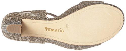 Tamaris 28387, Sandales Bout Ouvert Femme Argent (Gold Glam 935)