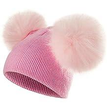 ECYC Bambini Cappello Toddler Bambini Bambino Inverno Caldo Cappello di  Lana Knit Beanie Fur Pom Pom a06ba9e5eedf