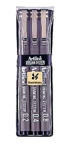 Artline Feutre à dessin Noir 0,2 mm / 0,4 mm / 0,8 mm Pochette de 3 (Import Royaume Uni)
