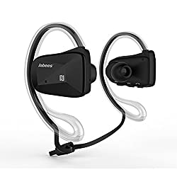 Jabees SweatProof Sport Wireless APT-X Bluetooth 4.0 Music Stereo Headset/Headphone/Earbud With NFC&Dual Microphone--Handsfree for Iphone 6 6Plus, 5S 5 4S, Galaxy Note 3 2 S4 S3 and Google,Sony,LG , other Smartphones (Black)