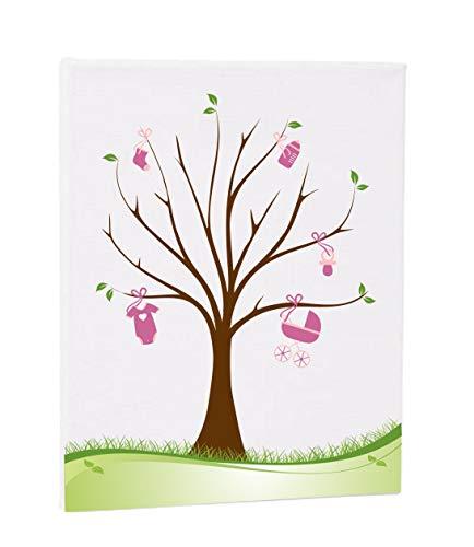 Herzl-Manufaktur Fingerabdruckbaum Girl Leinwand 30x40cm Gästebuch Taufe Geburt Geschenk Erinnerungsbaum Pullerparty Mädchen