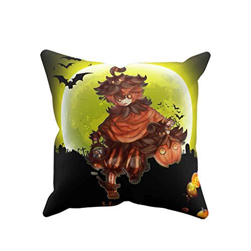 Precioul Halloween Gedruckt Kissenbezug, Kürbis Kissen Dekorativ Kissenbezug Werfen Polyester Kissenhülle 45cmx45cm Twill-Stoff Festliche Atmosphäre -