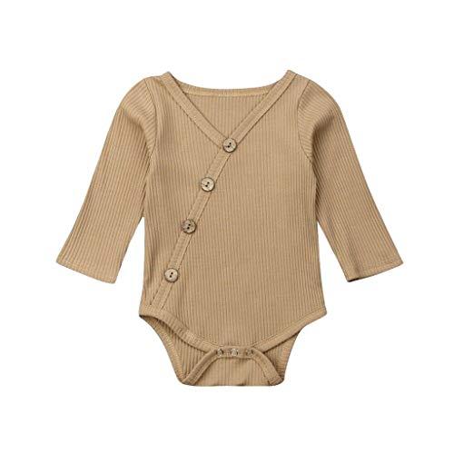 ni Kleinkind Baby Kinder Mädchen Jungen Langarm Feste Strampler Bodysuit Freizeitkleidung(Khaki,70) ()