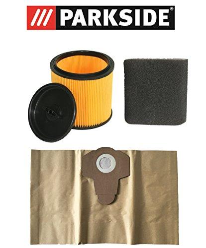 Filter Set Parkside Nassfilter, Trockenfilter und Staubsaugerbeutel 20 Liter für LIDL PARKSIDE NASS TROCKEN SAUGER PNTS MODELLE