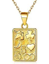 52acb78953d6 ChicSilver Moneda Memorial Plata de Ley 925 Chapado en Platino y Oro 18K  Collar para Hombres